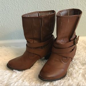 Maurices Bobbi Perforated Brown Ankle Boots 8 1/2
